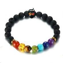 7 Chakra Bracelet for Men Black Lava Healing Balance Beads Reiki