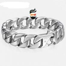 14mm Men's Bracelet Silver 316L Stainless Steel Round Curb