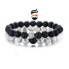2 Pcs/Set Bracelets for Man Natural Stone White and Black
