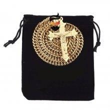 Gold Necklace tone Cross Christ Jesus