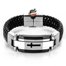 Men Cross Stainless Steel Leather Bracelets
