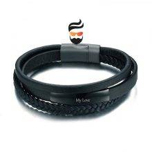 Genuine Leather Bracelet & Bangle for Men Multi-Layer with Engraved Service
