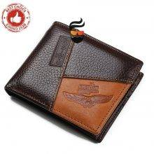 Genuine Leather Men Wallets with Coin Pocket and Zipper