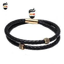Beautiful Bracelets Stainless Steel with Black Leather