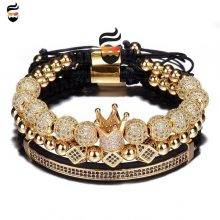 3pcs/Set Hip Hop Gold Crown 8MM Bracelets for men