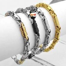Fashion Stainless Steel Bracelet 6mm Geometric Byzantine Link Chain