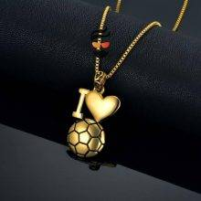 I Love Football Shaped Pendant Necklaces